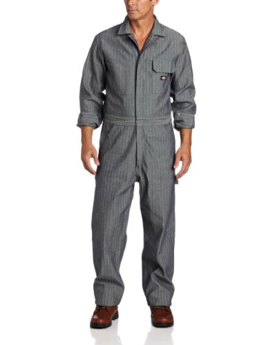 Dickies Men's Long Sleeve Cotton Coverall, Fisher Stripe, Medium/Regular ()