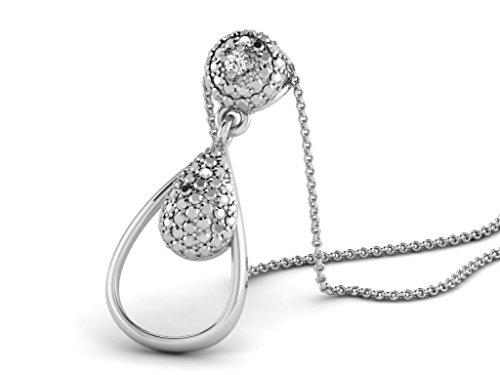Or Blanc 9 ct Pendentifs Diamant en forme de poire, 0.02 Ct Diamant, GH-SI, 1.76 grammes.