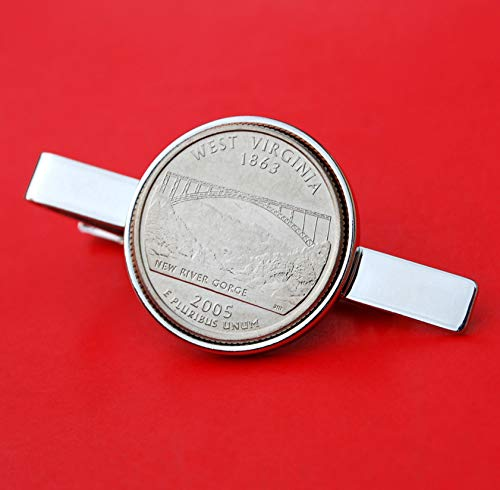 (US 2005 West Virginia State Quarter BU Uncirculated 25 Cent Coin Silver Plated Tie Clip Clasp NEW)