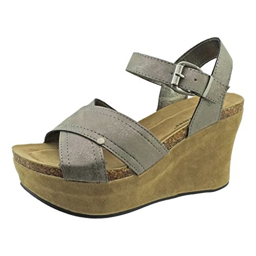Sandals Strap Hester Women's Pierre Strappy Pewter Leather Vegan Dumas Wedge Ankle 9 FqC8vw