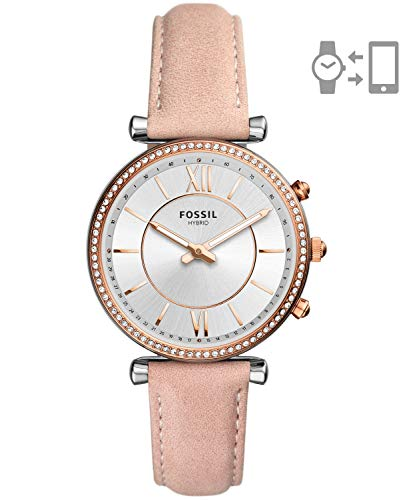 Fossil Women's Carlie Stainless Steel Hybrid Smartwatch Watch, Color:Beige (Model: FTW5039)