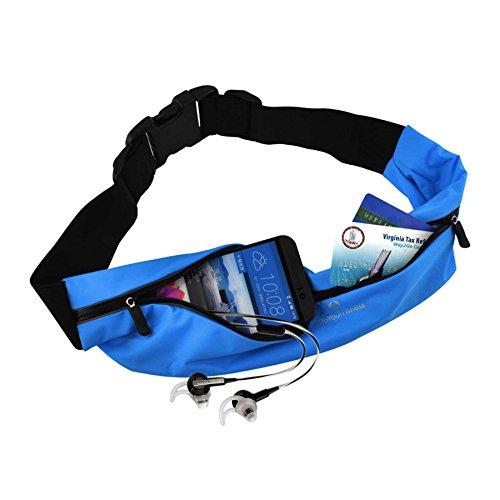 Laufgurt »FunRunner« Stilvolle Gürteltasche / Bauchtasche / Lauftasche für Laufen, Wandern, Klettern, Reiten / leuchtet in der Nacht (reflektiert z.B. Licht von Autos) / 4x Farben / Handys ab ca. 4Zol blau
