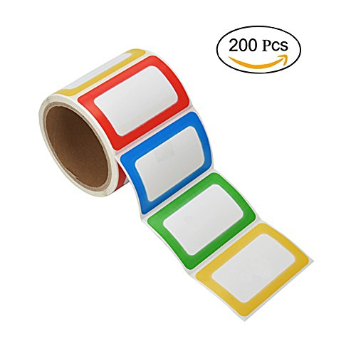 PAPRMA 200 Colorful Name Tags Plain Name Tag Labels Stickers, 3 1/2 X 2 1/4, 1 (Gift Tag Sticker Labels)