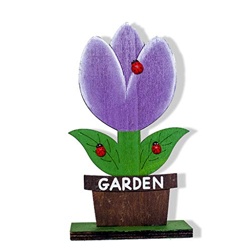Iusun Easter Decorations Wooden Multicolor Flower Shapes Home