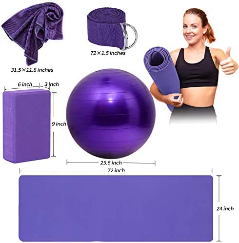 AJIEVWU Yoga Beginners Kit Yoga Blocks 2 Pack Yoga Strap Yoga Ball Yoga Mat with Carrying Strap Net Bag Sports Cooling Towel,Yoga Mat Kits and Sets for Beginners 11-Piece Yoga Starter Kit for Women