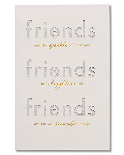 American Greetings Friends Christmas Card with Glitter