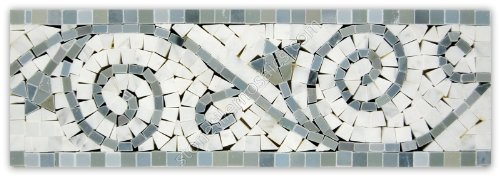 Carrara Marble Italian White Bianco Carrera Flower Mosaic Border Tile Polished (Listello Border)
