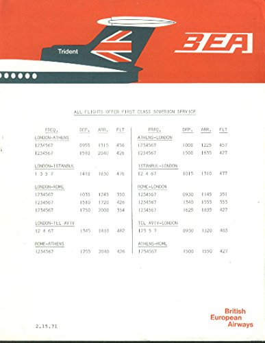 British European Airways airline timetable sheet 2/15 1971 to/from London
