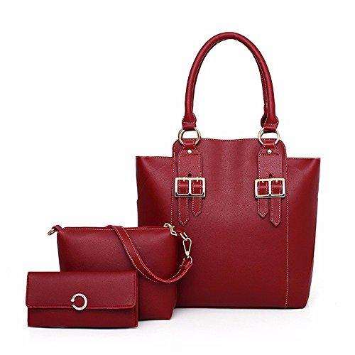 Totes Moda Tamaño 31x13x24cm Piezas Eeayyygch Negro Rojo Mensajero color Tres bolso Traje Mujer Para Bolso Bandolera De dw6Iqg6