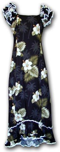 Hawaiian Muumuu Hibiscus Island Long Style Black M 334-2798