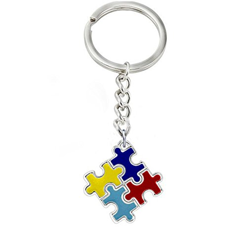 fomoisclU Autism Awareness Colorful Puzzle Piece Charm Keychain Car Key Ring Unisex Gift Husband Girlfriend Boyfriend Present Valentine's Day/Mother's Day/Father's Day/Thanksgiving Day/Birthday Gifts ()