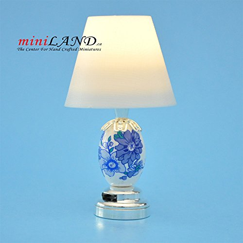 - Modern Silver blue table LED LAMP light battery 1:12 for dollhouse miniature 1:12 scale