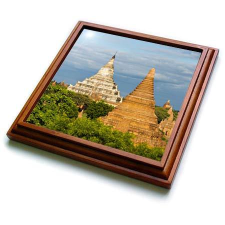 (3dRose Danita Delimont - Myanmar - Ancient temples and pagodas, Bagan, Mandalay Region, Myanmar - 8x8 Trivet with 6x6 ceramic tile (trv_312595_1))