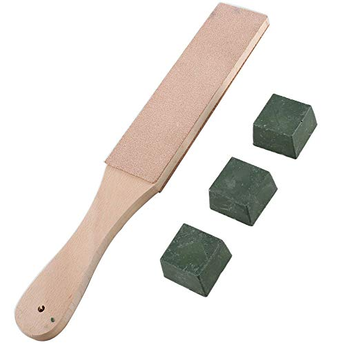 - ManYee Green Leather Stropping Kit Tools 1.6 Inch Double Sided Wide Leather Strop Board Paddle with Wood Handle Leather Strop Block 3 Packs Leather Sharpening Polishing Compound Hone Knife Sharpener