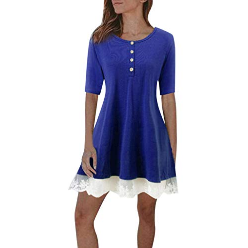 LYN Star Women's Loose Dress Lace Patchwork Loose Summer Short Sleeve Ladies Dress 2019 Blue