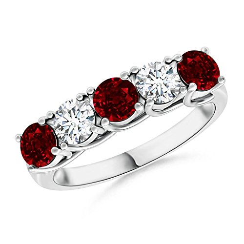 (Half Eternity Five Stone Ruby and Diamond Wedding Band in Platinum (3.8mm Ruby))