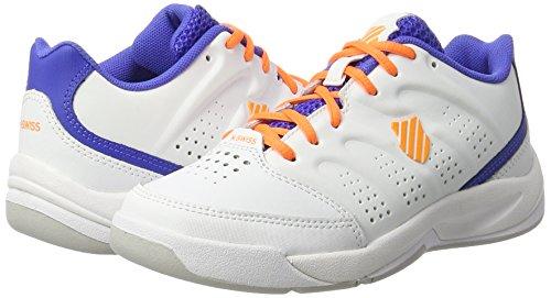K-Swiss - Zapatillas de tenis de cuero para niño blanco/azul/naranja, blanco/azul/naranja, 13.5 UK - 32.5 EU blanco/azul/naranja