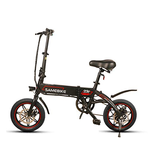 Samebike YINYU14 250w Folding Electric Bike 36V 8AH Lithium Battery Electric Bikes for Adults (Black)