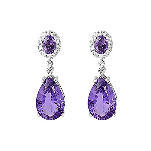 Tear-Drop-Earring-Mariafashion-Cubic-Zircon-Crystal-Wedding-Pieced-Earrings-Silver-Tone