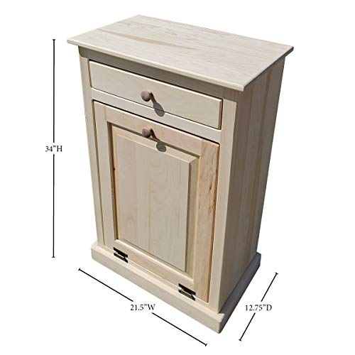 Peaceful Classics Wooden Pull Out Trash Can Cabinet, Handmade Solid Wood Hideaway Trash Holder (Pewter)
