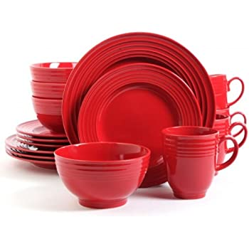Red 16 Piece Dinnerware Set, Stoneware Dinner Set For 4, Elegant,