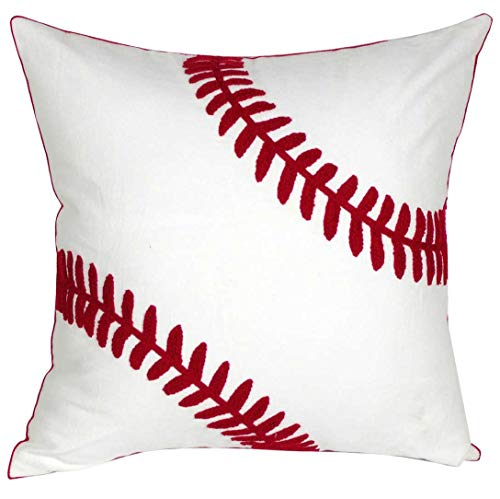 DECOPOW Embroidered Baseball Throw Pillow Covers,Square 18 inch Decorative Canvas Pillow Cover for Baseball Room Decor…