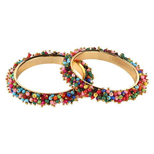 Efulgenz Fashion Jewelry Indian Bollywood 14 K Gold Plated Multicolor Faux Pearl Beaded Bracelet Bangle (2 ()
