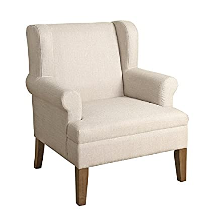 Amazoncom Homepop Emerson Wingback Accent Chair Albaster White