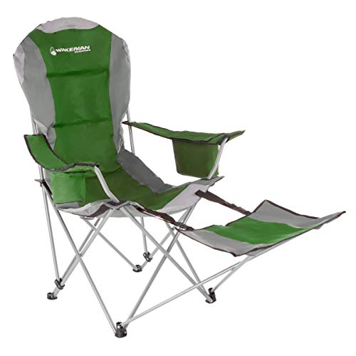 Green Outdoor Folding Chairs - Wakeman Outdoors Camp Chair with Footrest-300lb. Capacity Recliner Quad Seat-Cup Holder, Cooler, Carry Bag-Tailgating, Camping, Fishing (Green)
