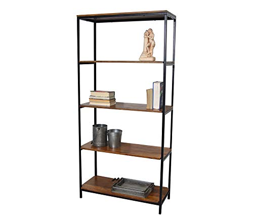Wood & Style Office Home Furniture Premium Chair and Table Tall William Bookcase, Chestnut/Black