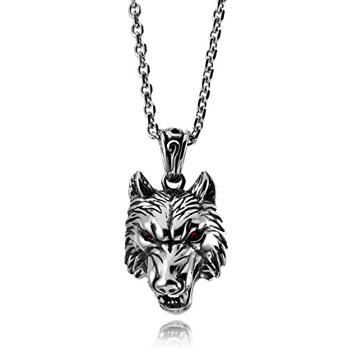 - INBLUE Men's Stainless Steel Pendant Necklace CZ Silver Tone Wolf Lion Tiger Head -With 23 Inch Chain