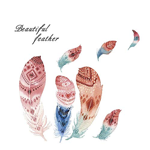DIY Beautiful Feather Wall Stickers & Murals Removable Wall Decals for Bedroom Kids Room -