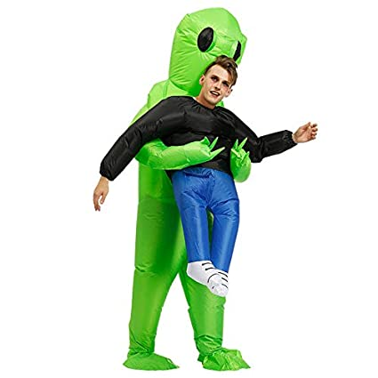 Gmorosa Green Alien Carrying Human Costume Halloween Clothes Prop Christmas Prop Clothes Ropa Inflable Inflatable Funny Especial Suit Cosplay Traje ...