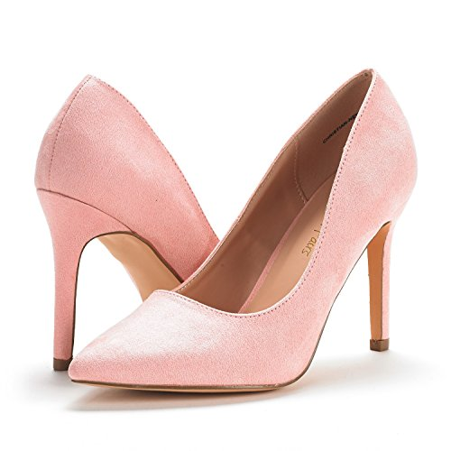 DREAM PAIRS Womens Christian-New High Heel Pump Shoes Pink Suede xGDH4mS