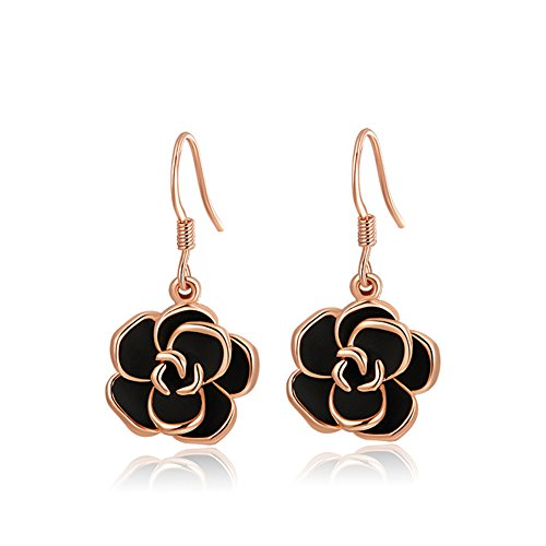 YEAHJOY Bling Jewelry Women's Platinum/Rose Gold Plated Black Rose Flower Hook Earrings - Elegant Earrings Rose Pierced