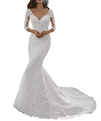 Women's Long Sleeve Lace Wedding Dress Beaded Long Mermaid Dresses