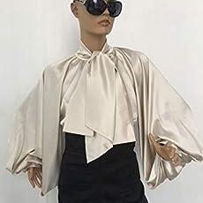 46149bb16170e5 Formal Womens silk blouse/Cream cocktail satin blouse/Satin Bow Blouse,  Bishop.