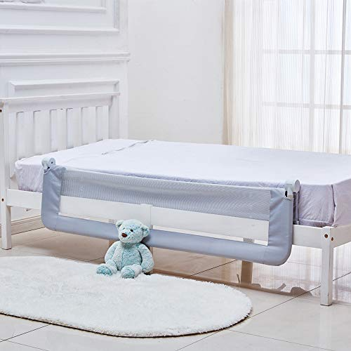 Gray KOOLDOO 59 inch Baby Toddler Bed Rail Guard Extra Long Foldable Safety Bedrail with Reinforced Anchor Safety System