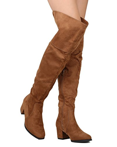 Womens Brown Knee High Boots (Women Over The Knee Riding Boot Trendy Cuff Almond Toe Chunky Block Heel Thigh High Boots Tan 6)