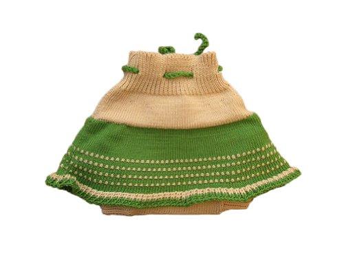 Knit Wool Diaper Cover - Merino wool baby-girl knit soaker diaper cover skirt (M, Beige-Green)