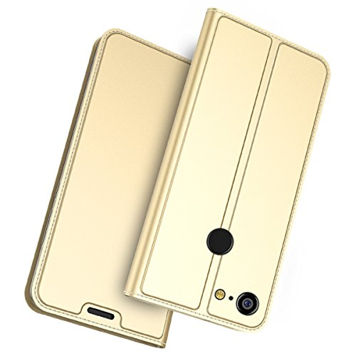 TOTOOSE Google Pixel 3 XL Cellphone Case Leather Case Protective Skin Double Layer Bumper Shell Shockproof Impact Defender Protective Case Cellphone Case for Google Pixel 3 XL, Golden