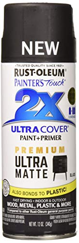 Rust-Oleum 331182 Painters Touch 2X 12 OZ Black Matte Spray Paint,