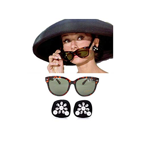 (Audrey Hepburn-the Breakfast at Tiffany's Costume Black Earrings & Cat-eyed Tortoiseshell Sunglasses Accessories Set)