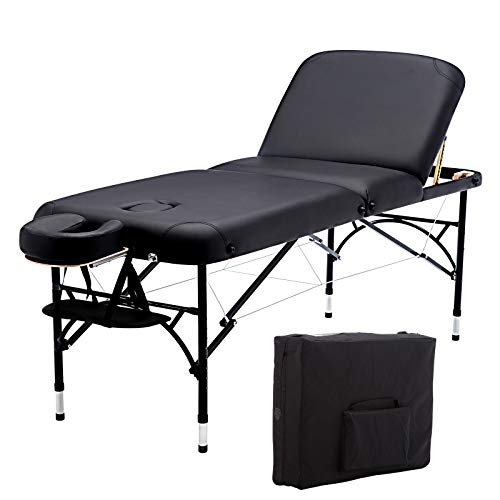 Artechworks 73″ Long 28″ Wide Professional 3 Folding Portable Lightweight Massage Table Facial Solon Spa Tattoo Bed With Aluminium Leg(2.56″ Thick Cushion of Foam)
