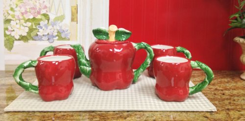 APPLE 3-D,Teapot and 4 Mugs