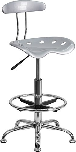 Offex Vibrant Drafting Stool with Tractor Seat, Silver and Chrome