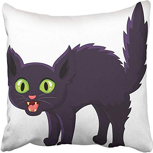 Wbsdfken Throw Pillow Covers 18 x 18 Inches White Scared Frightened Cartoon Black Cat Halloween Angry Scary Bad Startled Cute Pillow Case Decorative Cushion Cover Two Sides Print Pillowcase -