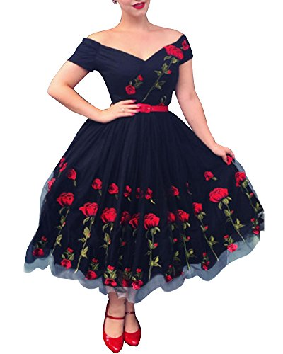 - Aofur Women's Vintage 1950's Floral Spring Rose Print Rockabilly Swing Prom Party Cocktail Dress (XX-Large, Black)
