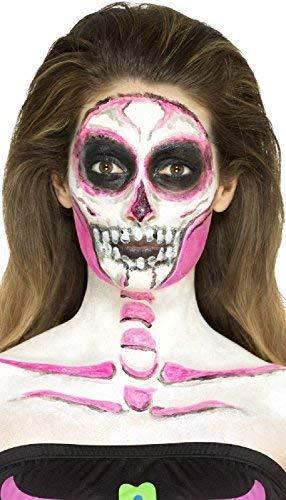 Fancy Me Herren Damen Halloween Latex Neon Skelett Make Up