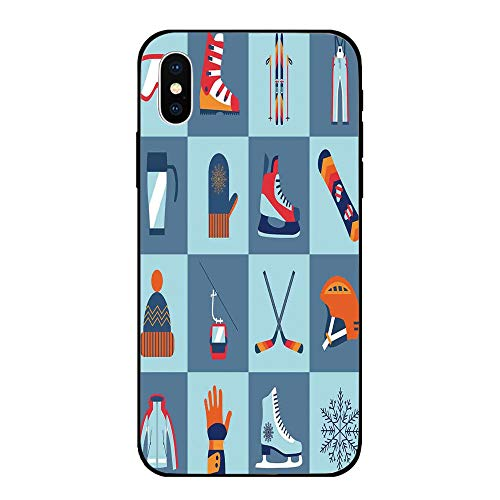 Phone Case Compatible with iPhone X BrandNew Tempered Glass Backplane,Kids,Ice Skating Winter Sports Skiing Boot Cap Glasses Glove Helmet Skates Snowboard Print,Anti-Shock and ()